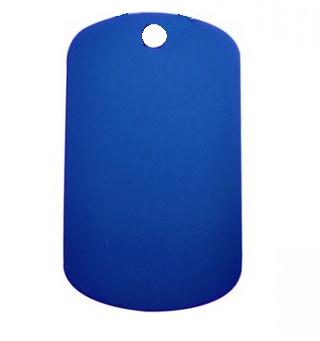 Aluminium Oblong Dog Tag Blue