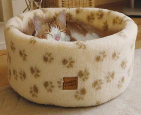 Cat Cosy Fleece Bed Cream 50cm