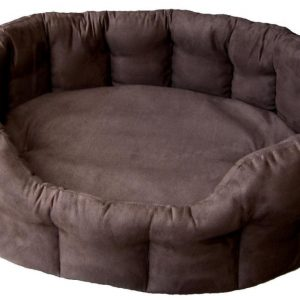 Faux Suede Brown Oval Bed Size 4
