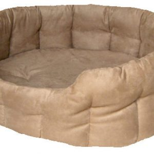 Faux Suede Tan Oval Bed Size 2