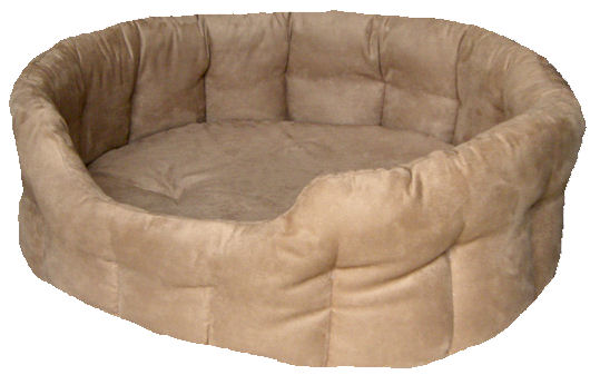 Faux Suede Tan Oval Bed Size 3