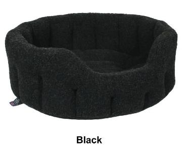 Oval Black Fleece Dog Bed Size 3