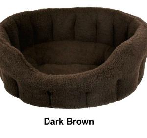 Oval Dark Brown Fleece Dog Bed Size 2