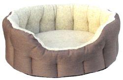 Oval Mink & Oatmeal Basket Weave Bed Size 4