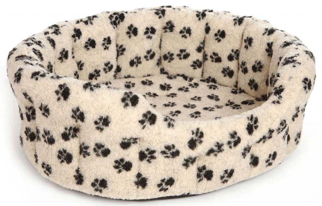 Oval Paw Print Beige Fleece Bed Size 2