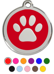 Paw Print Enamel Pet Tag Medium