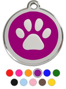 Paw Print Enamel Pet Tag Medium