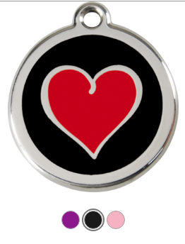 Two Tone Heart Enamel Pet Tag Medium